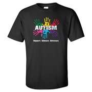 Autism Awareness Shirt 'Support, Educate, Advocate' Safety Green, White, Royal Blue, or Black