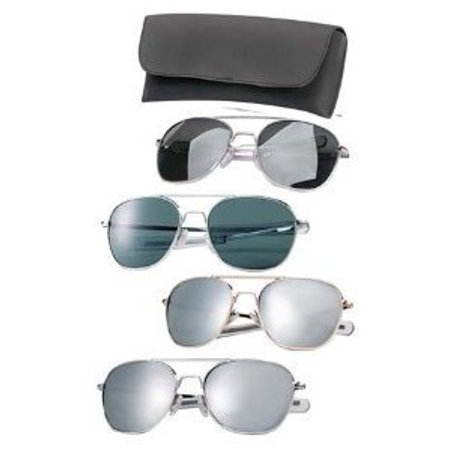 G.I. TYPE PILOT'S AVIATOR SUNGLASSES, Chrome/Mirror, (Sunglasses Lens Types)