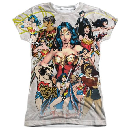 Juniors: Wonder Woman- 75Th Collage Apparel Womens Sublimated - White