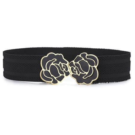 Lady Black Stretchy Enamel Floral Buckle Empire Waist (Ladies Black Belt)