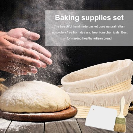 AIHOME Oval Shaped Bread Banneton Proofing Basket with Bread Lame Butter Brush Baking Dough Bowl Gifts for Bakers - image 5 of 9
