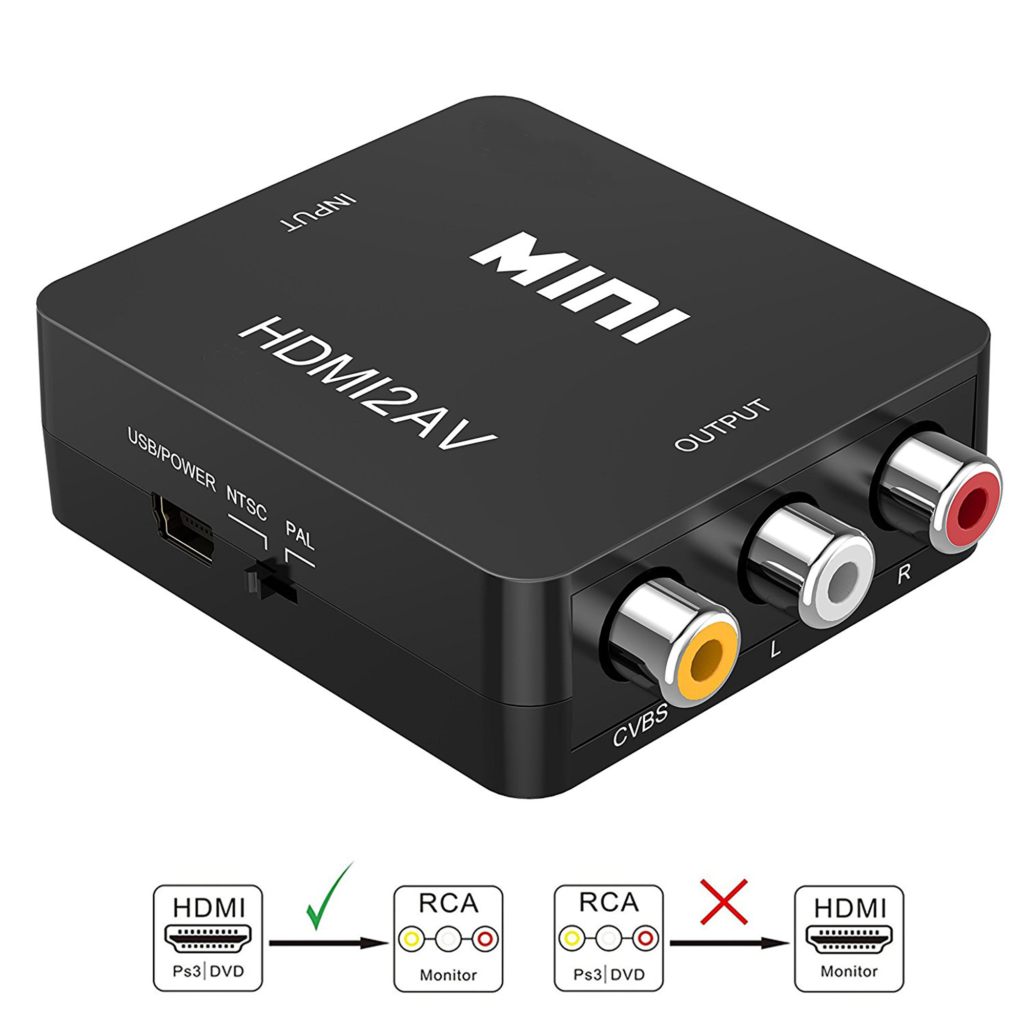 HDMI to RCA Converter, LittleMax 1080P HDMI to 3RCA CVBS AV Composite Video Audio Converter Adapter Supports PAL/NTSC with USB Charge Cable for PC Laptop HDTV DVD, Black