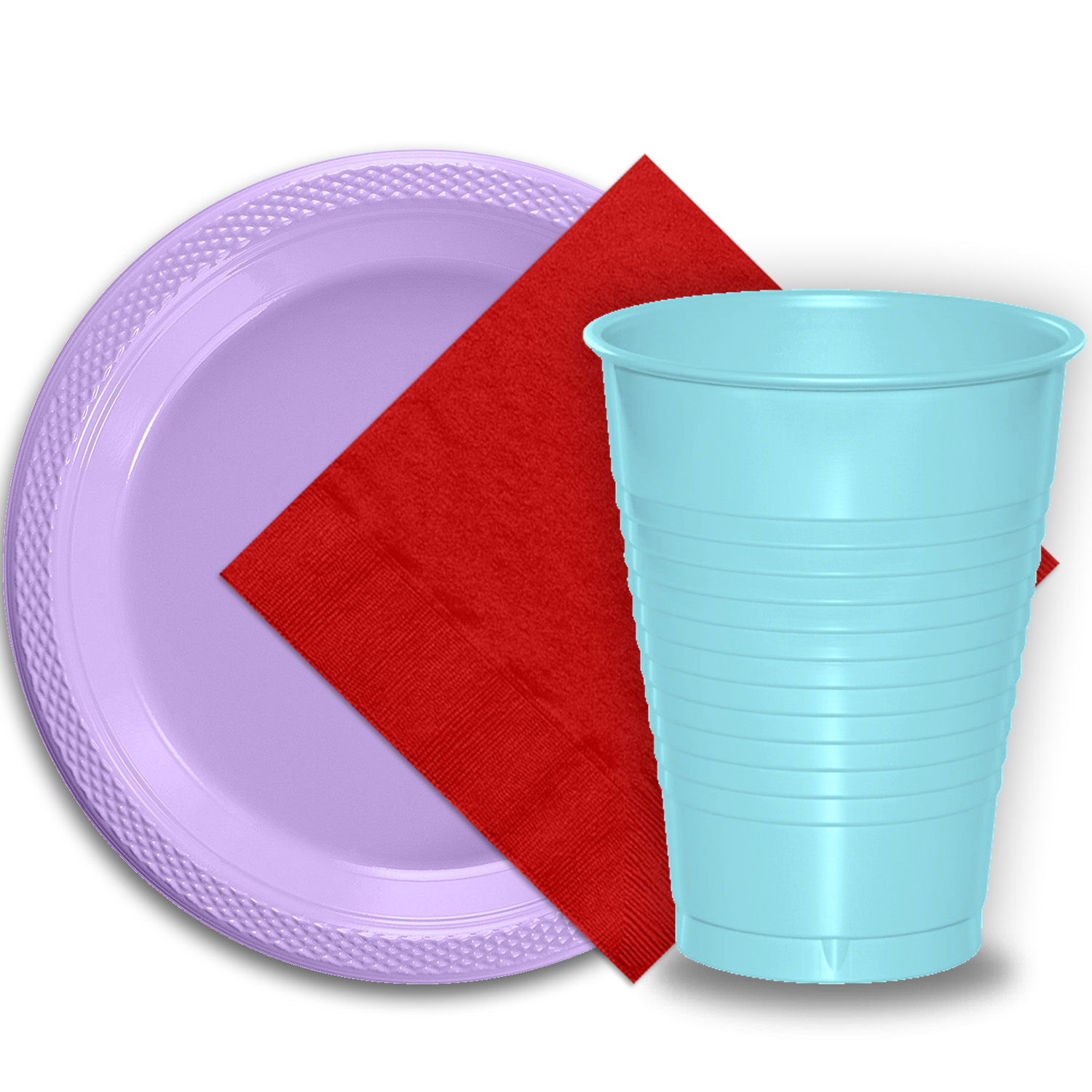"50 Lavender Plastic Plates (9""), 50 Light Blue Plastic Cups (12 oz.), and 50 Red Paper Napkins, Dazzelling Colored Disposable Party Supplies Tableware Set for Fifty Guests."