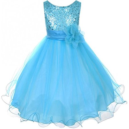 Big Girls' Gorgeous Sequined Round Neck Tulle Flower Corsage Pageant Flower Girl Dress Aqua 10 (Aqua Print Dress)