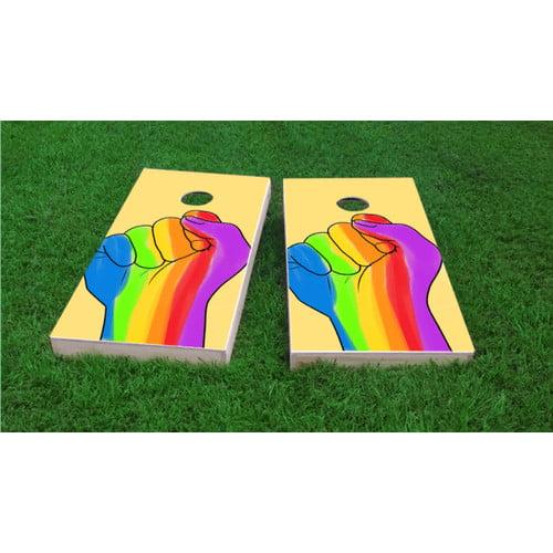 Custom Cornhole Boards Gay Pride Rainbow Hand Cornhole Game (Set of 2) by Custom Cornhole Boards