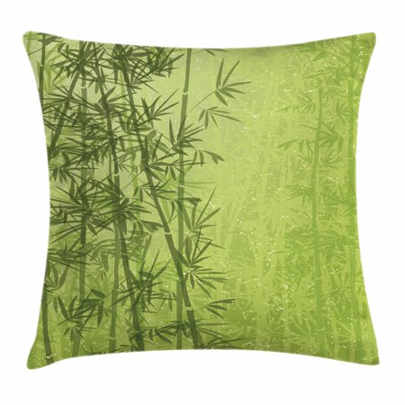Exotic Throw Pillow Cushion Cover, Tropical Forest Rainforest Jungle Paradise Ecology Feng Shui Spa, Decorative Square Accent Pillow Case, 20 X 20 Inches, Pistachio Green Fern Green, by Ambesonne