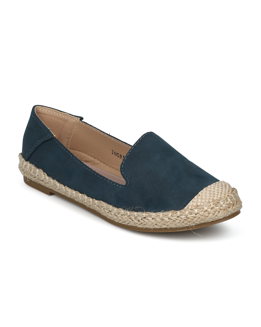 New Women Refresh Ingrid-02 Mixed Media Capped Toe Espadrille Slip On Flat