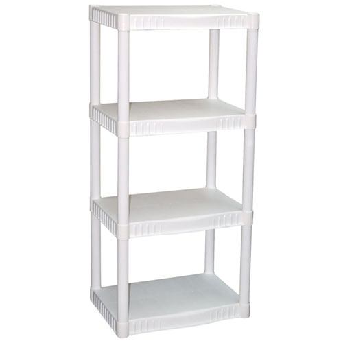 "Plano 4-Tier Heavy-Duty Plastic Shelves, White (22"" X 14"" X 48"")"