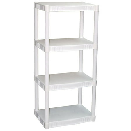 Plano 4-Tier Heavy-Duty Plastic Shelves, White - Cheap Store