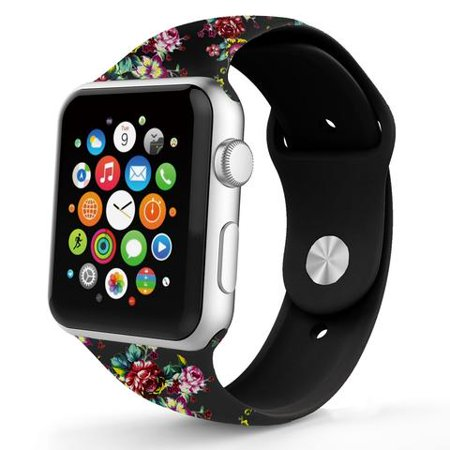 iPM WA17D Soft Silicone Replacement Band for Apple Watch - 42mm - Black Band With Red Roses Type: Watch StrapMaterial: siliconeClasp Style:  stainless steel BuckleCompatible Brand: for AppleCompatible Model: for Apple Watch Series1 Series2, Apple Watch Sport, Apple Watch Edition,Apple Watch Nikesize length: 90mm+130mm