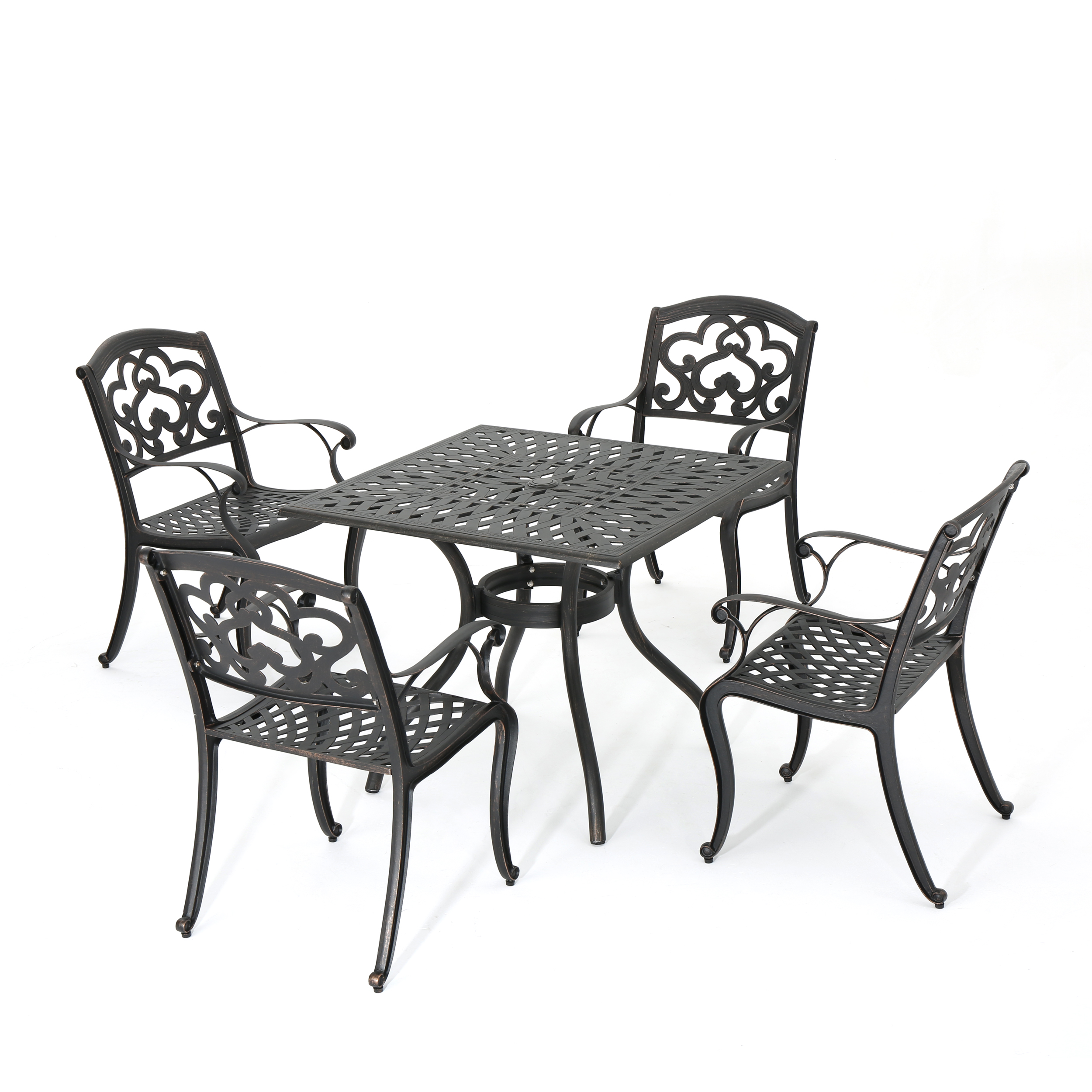 Augusta Outdoor 5-Piece Cast Aluminum Dining Set, Shiny Copper Finish