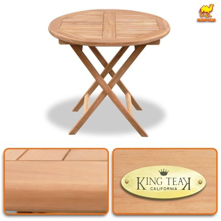 Strong Camel Round Golden Teak Wood Table Outdoor Furniture Set Garden Yard(1 PC) ()