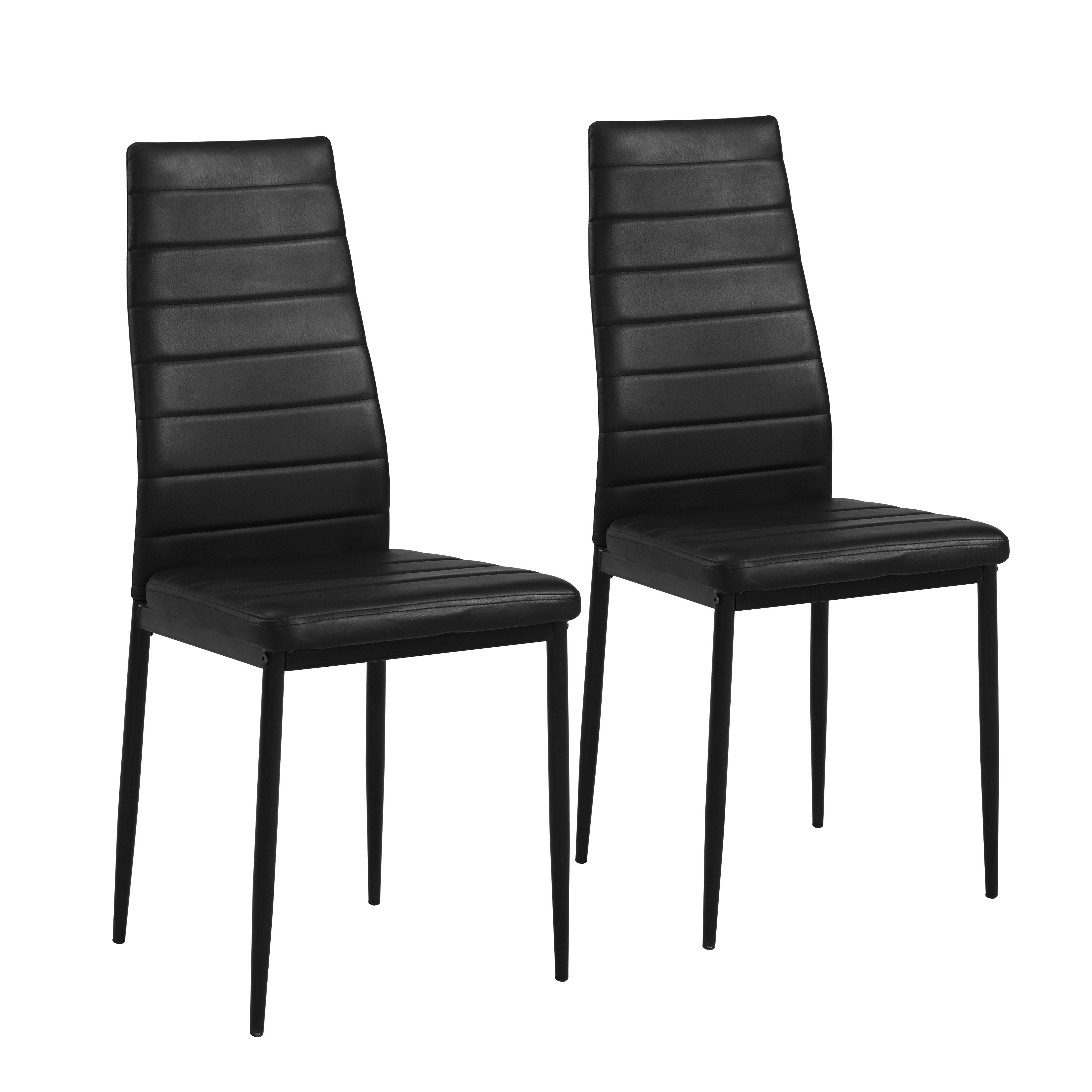 Mainstays Parsons Dining Chair, Set of 2, Black Faux Leather