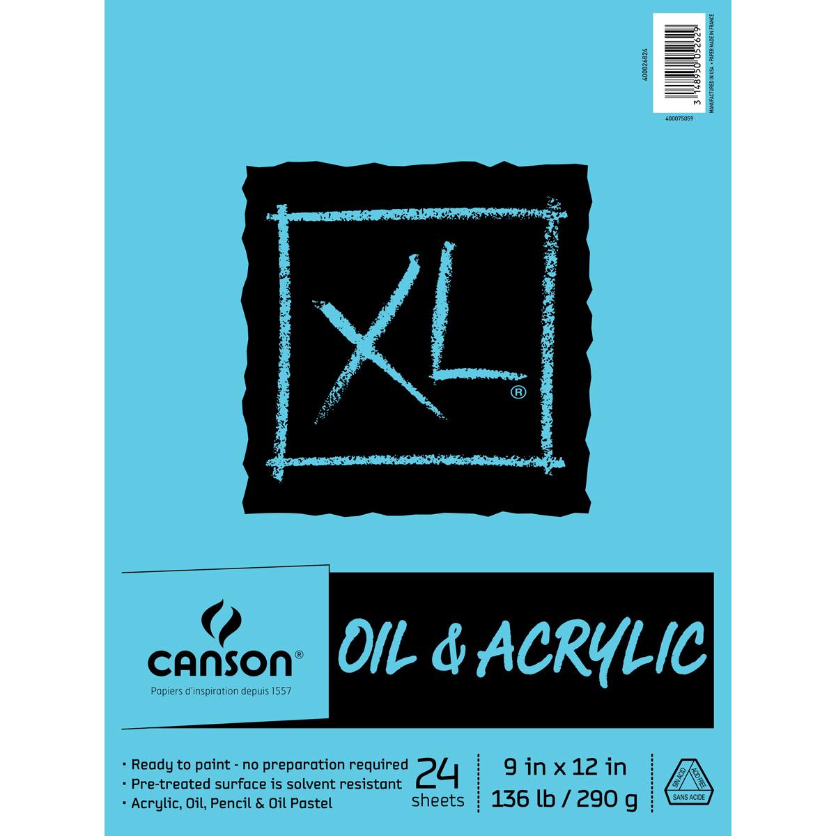 """Canson XL Acrylic Paper Pad 9""""X12""""-24 Sheets"""