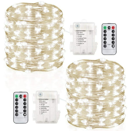 2 Pack 100 Led String Lights Fairy Lights Battery Operated