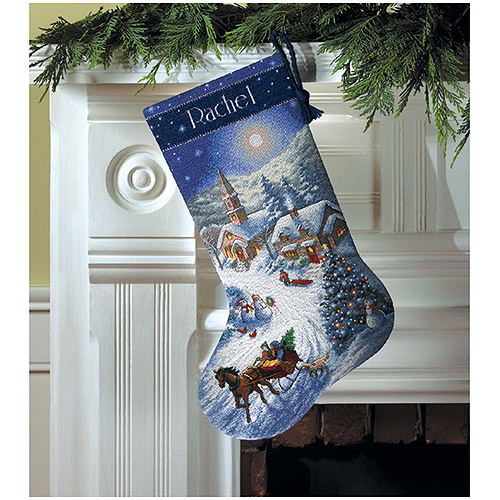 """Sleigh Ride At Dusk Stocking Counted Cross-Stitch Kit, 16"""" Long"""