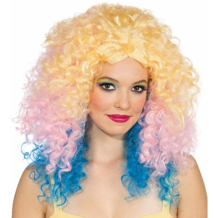 Adult Womens Pastel Punch Blonde Pink Blue Long Large Curly 80s Rave Wig