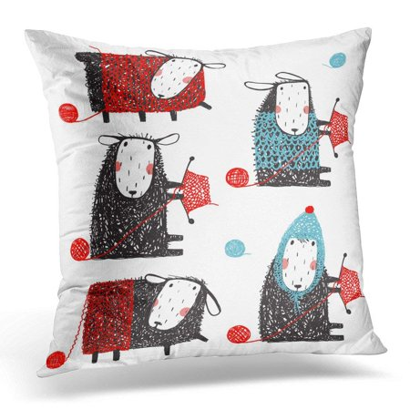 ARHOME Black Funny Knitting Crafty Sheep Scribble Cartoon Collection Little Adorable Woolen Animal White Pillow Case Pillow Cover 20x20 inch