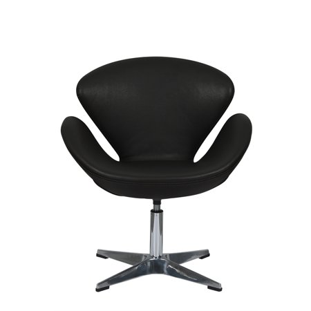 LeisureMod Mid-Century Swan Leather Accent Side Lounge Armchair in Black ()