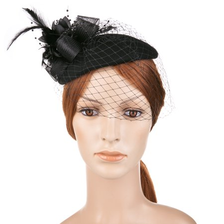 56edd2ad9e1 Vbiger Womens Dress Fascinator Wool Felt Pillbox Hat Party Wedding Bow Veil  - Walmart.com