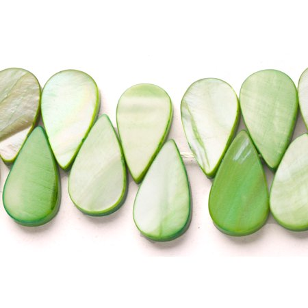Apple Green Mother-Of-Pearl Tear Drop Plate Side Drilled Shell Beads (Drilled Teardrop Green)