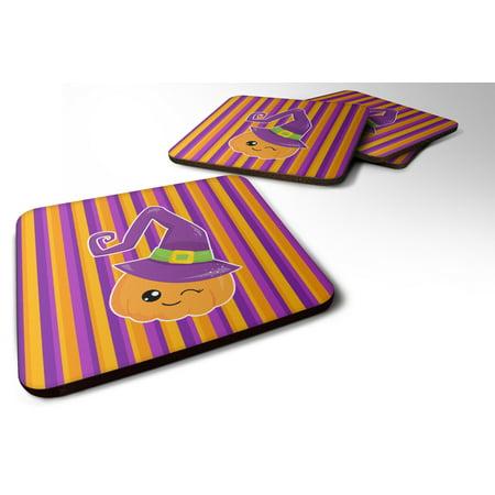 Set of 4 Halloween Pumpkin Witch Foam Coasters Set of 4 BB6967FC - Halloween Serveware Sale