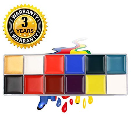 Face Paint Kit for Halloween, Face Painting Set Safe for Sensitive Skin - 12 Large Washable Non-Toxic Face Paints (Halloween Face Painting Near Me)