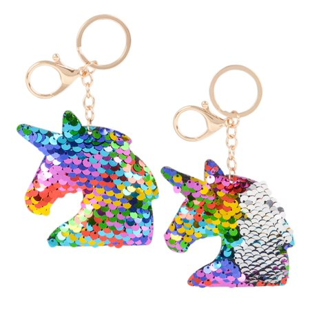 Rhode Island Novelty Rhode Island Novelty Flip Sequin Plush Rainbow Silver Magical Unicorn Keychains (2pc Set) Fashion Accessories