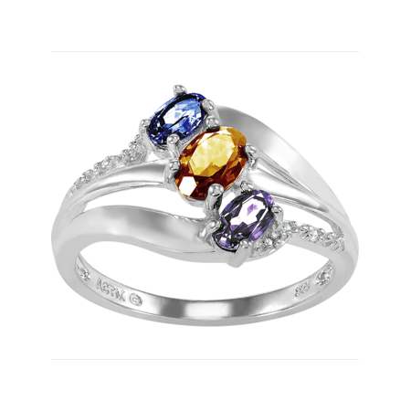 Personalized Family Jewelry Alyssa 3 Simulated Birthstone Mother's Ring in Sterling Silver](3 Birthstone Ring)