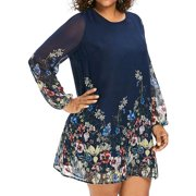AKFashion Women's Plus Size Long Sleeve Round Neck Knee High Flora Print Dress