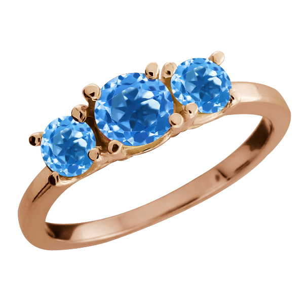 1.26 Ct Round Swiss Blue Topaz Gemstone Gold Plated Sterling Silver Ring
