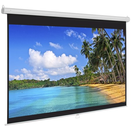 Insta De Projection Screen - Best Choice Products 119in Ultra HD 1:1 Gain Indoor Pull Down Manual Widescreen Wall Mounted Projector Screen for Home, Cinema, TV, Theater, Office - White