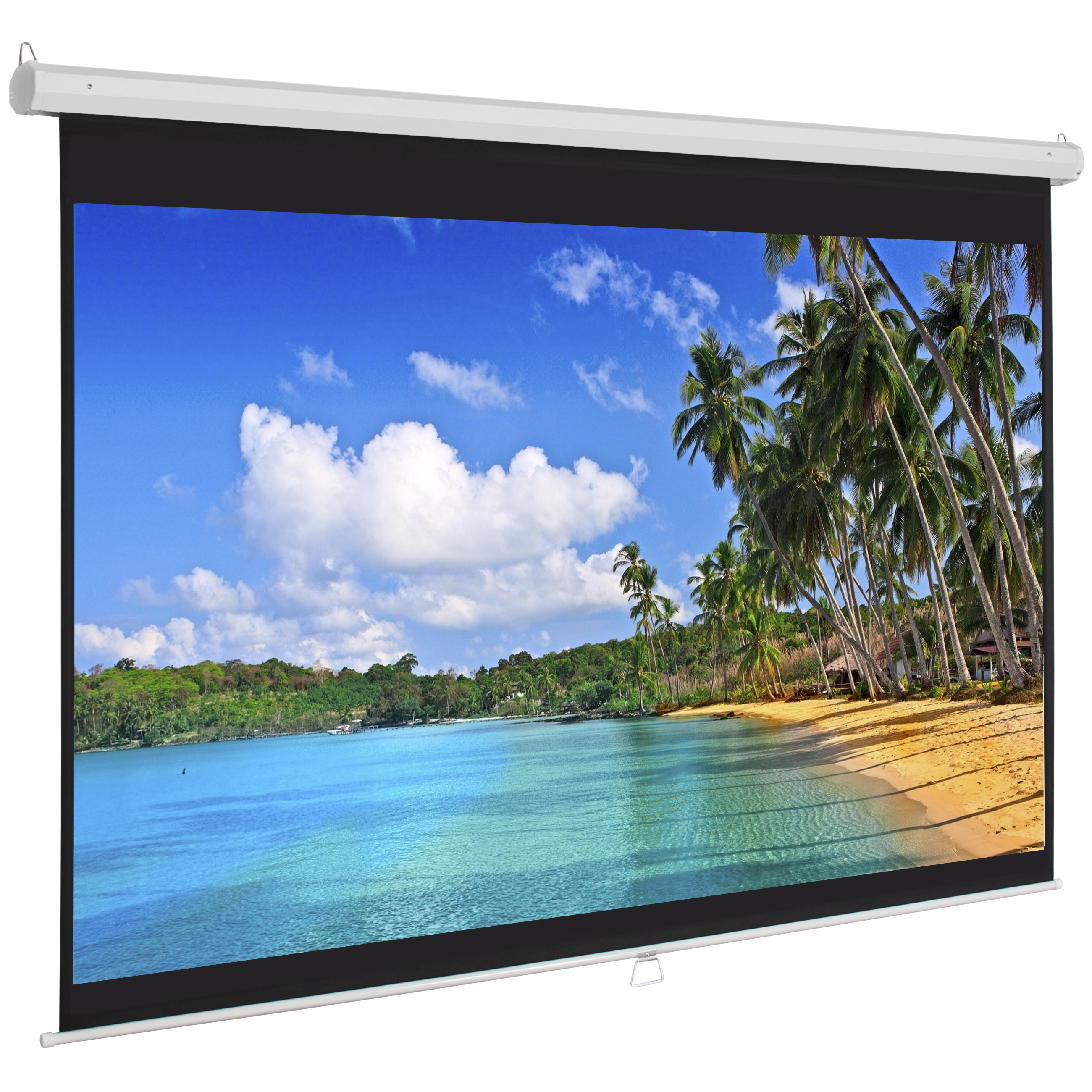Best Choice Products 119in Ultra HD 1:1 Gain Indoor Pull Down Manual Widescreen Wall Mounted Projector Screen for Home, Cinema, TV, Theater, Office - White