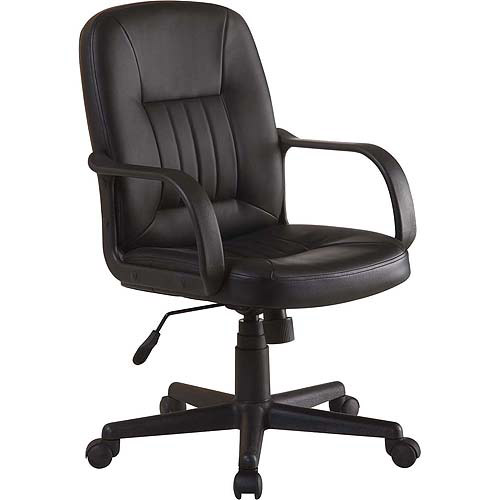 Office Chairs Walmart >> Innovex Executive Leather Mid-Back Office Chair, Black - Walmart.com