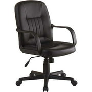 Innovex Executive Leather Mid-Back Office Chair, Black