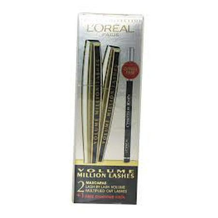 3f9fb5643e8 L'OREAL Volume Million Lashes Mascara x2 + free color riche Le Khol  eyeliner NIB - Walmart.com