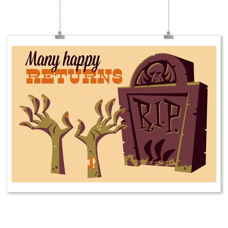 Gravestone - Many Happy Returns - Retro Halloween - Lantern Press Artwork (9x12 Art Print, Wall Decor Travel - Halloween Gravestones Names