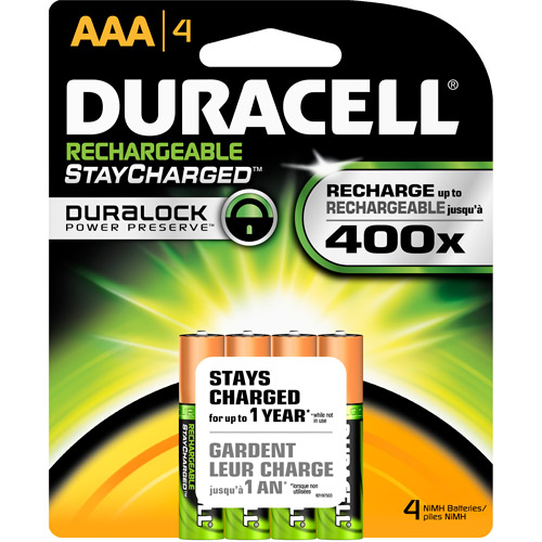 Duracell Rechargeable StayCharged AAA Household Batteries 4 Count
