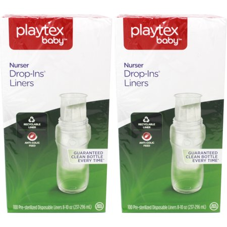 - 2 Pack Playtex Baby Nurser Disposable Drop-In Baby Bottle Liners 8 Oz, 100 Ct Ea