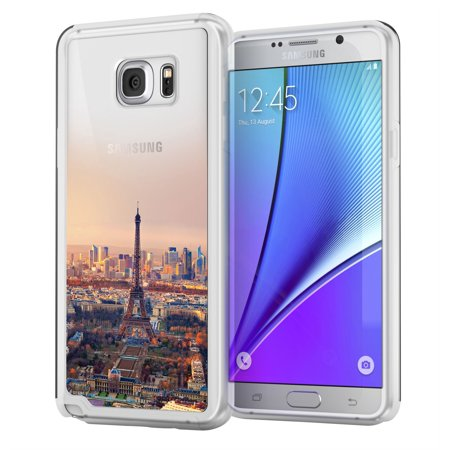 Samsung Galaxy Note 5 Case True Color Eiffel Tower Paris Urban Landmarks Collection Printed On Clear Transparent Hybrid Cover Hard Soft Slim