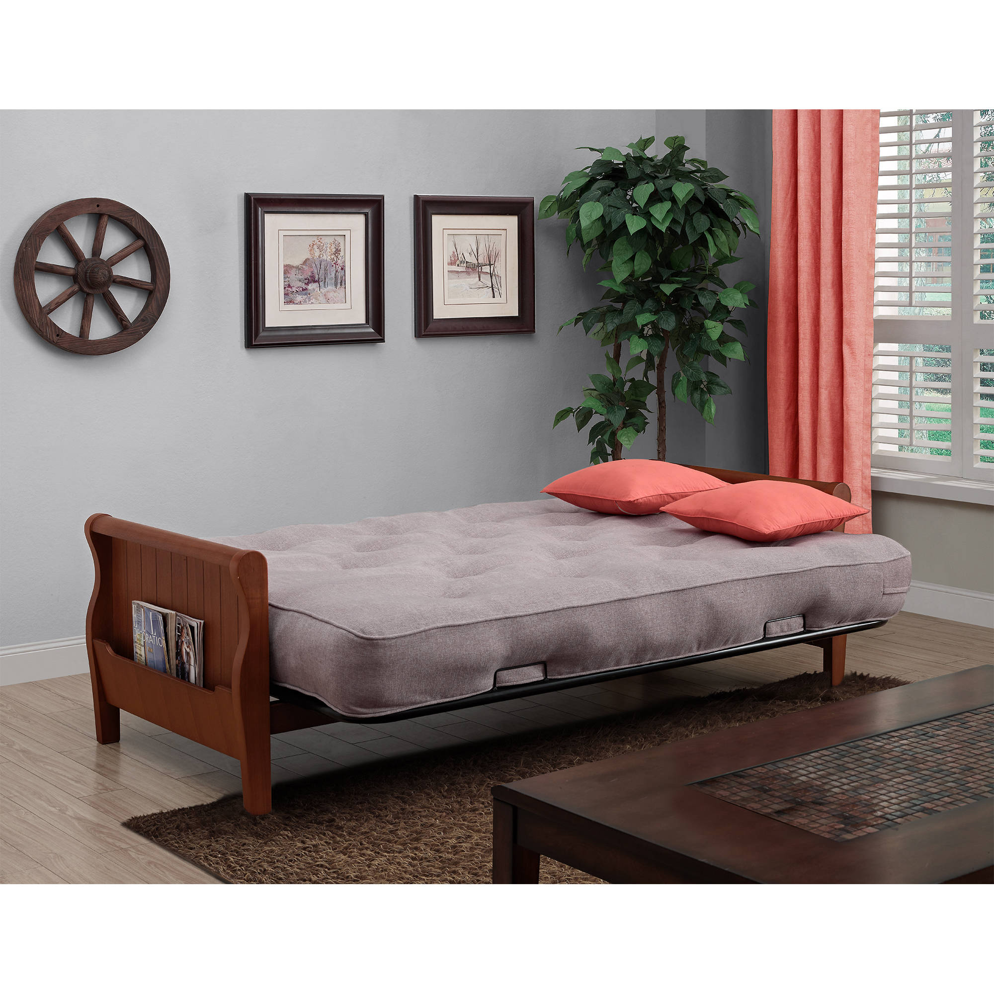 "Better Homes and Gardens Wood Arm Futon With 8"" Coil Mattress, Multiple  Colors - Walmart.com"