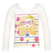 Little Girls Cream Girl Print Dot Stripe Studded Long Sleeved Top 6