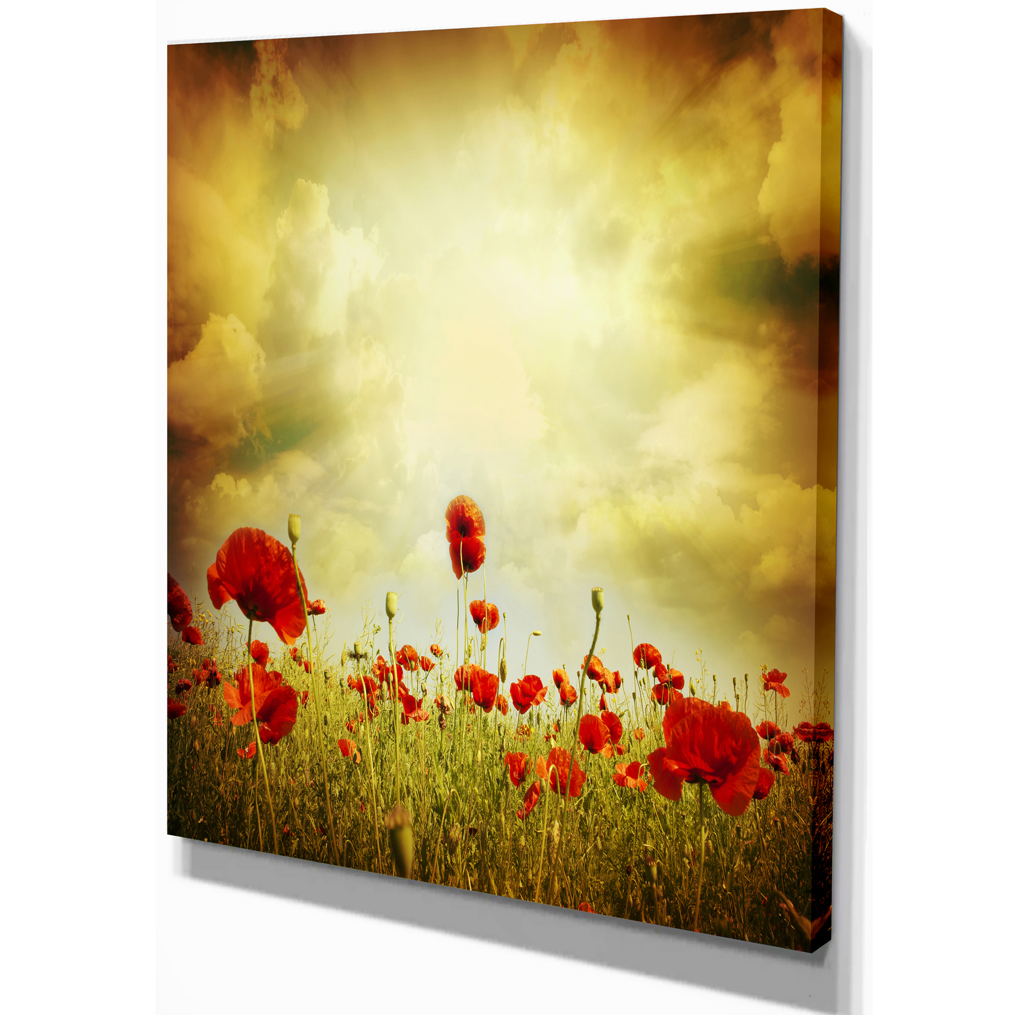 Red Poppies on Grunge Background - Floral Canvas Art Print - image 2 de 3