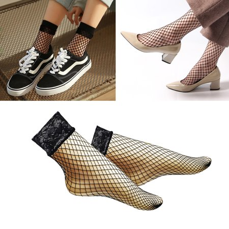 Women Sexy Socks Lace Cross Fishnet Mesh Socks Black Lady Short Silk Socks