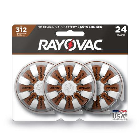 - Rayovac Size 312 Hearing Aid Batteries, 24-Pack 312-24