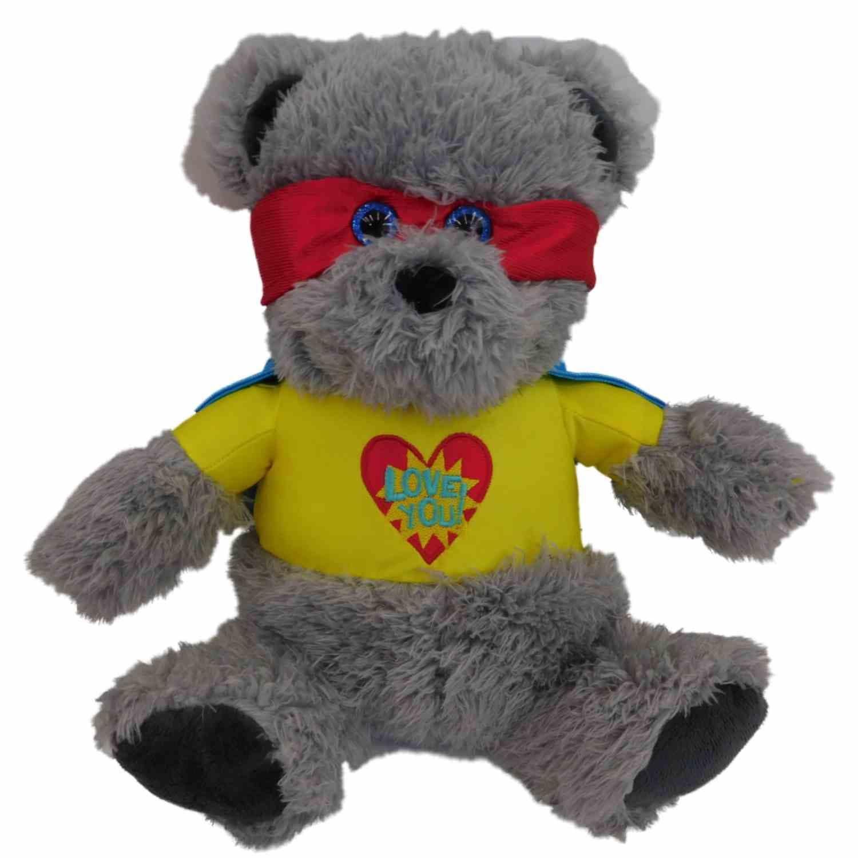 "Valentines Day Super Hero Teddy Bear Stuffed Animal 13"" Plush Gray Love Bandit by Celebrate The Season"
