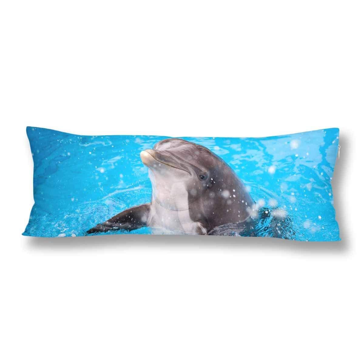 ABPHOTO Ocean Animal Dolphin Body Pillow Covers Pillowcase 20x60 inch Blue Sea Water Body Pillow Case Protector