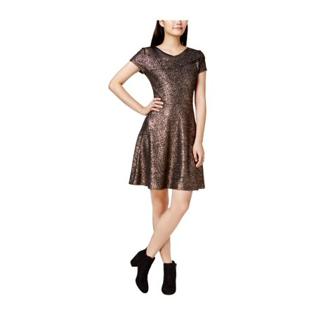 bar III Womens Metallic Fit & Flare Dress rosegold XS - image 1 de 1