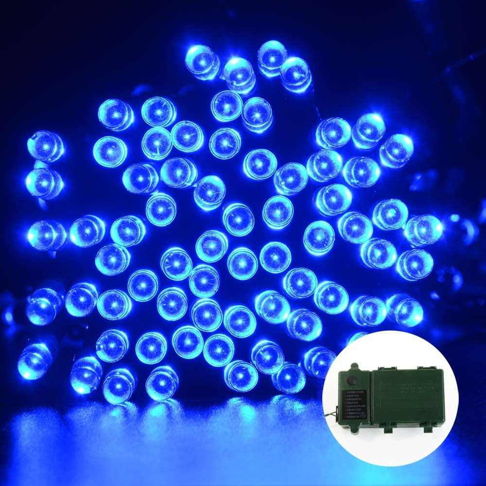 Qedertek Christmas Lights LED String Lights 13.1ft 50 LED Super Bright BatteryString Lights Christmas for Home Garden Patio Lawn and Party Decoration (Blue)