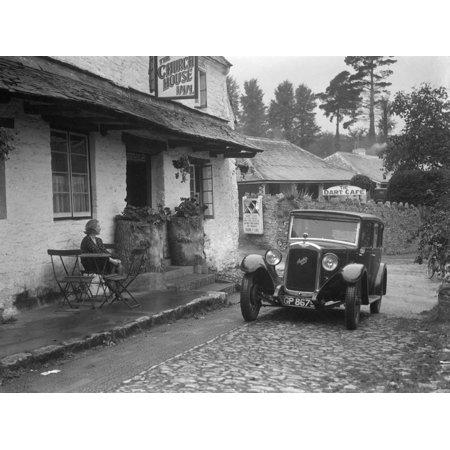 1931 Austin 16 - 6 on a road test, parked outside the Church House Inn, Stoke Gabriel, Devon Print Wall Art By Bill